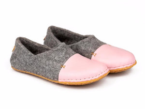 Natural Grey WOOCAPS woolen slippers with pinky leather toe cap