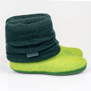 Spring Green ankle boots with hand knitted leg warmers