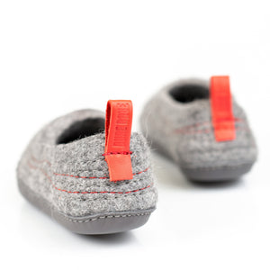 Pure Grey COCOON woolen ladies slippers with minimalist pull loop