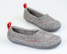 Load image into Gallery viewer, Pure Grey COCOON woolen ladies slippers with minimalist pull loop