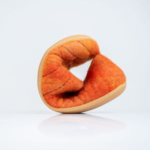 Tobiko Orange COCOON felted wool slippers with BureBure pull loop