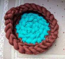 Load image into Gallery viewer, Round Cat Basket with handles CHUNKY Turquoise/Russet Brown