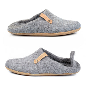 Collapsible back Cocoon woolen slippers for women:  the picture above shows how the backless slippers option looks like while the picture below shoes how the clog option looks like.