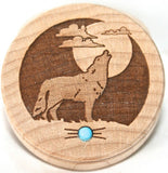 Wolf Southwestern Home Decor Wooden Trinket Box Turquoise Gemstone