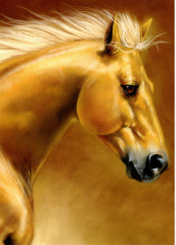Palomino Horse Art Blank Note Card Matching Envelope 100% recycled Green