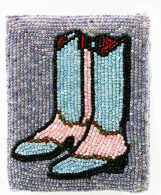 Western Wear Ladies Cross Body Beaded Coin Purse Blue Cowboy Boots