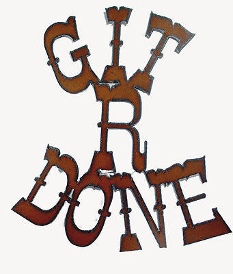 Western Decor Rustic Sign funny Cowboy Art Western Art Git R Done