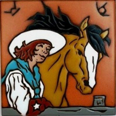 Western Kitchen Decor Cowgirl Horse New Ceramic Tile Kitchen Trivet Hot Plate