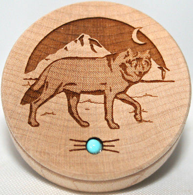 Wolf Art Southwestern Home Wood Trinket Box Turquoise gemstone