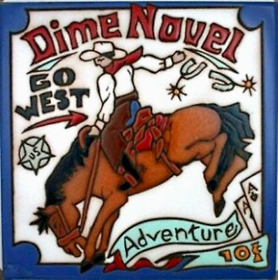 New Ceramic Tile Coaster Kitchen Trivet Vtg Western Dime Novel Cowboy Rodeo Art