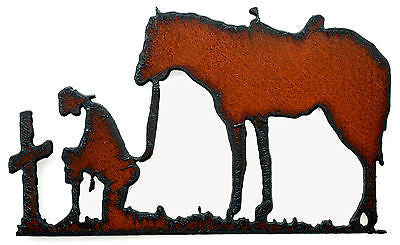 Western Home Decor Praying Cowgirl Cross Horse