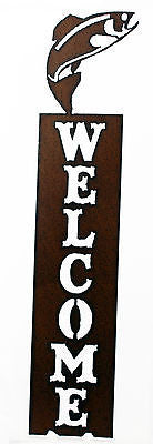 Lodge Decor Rustic Metal Trout Vertical Welcome Sign Fishing Decor Rustic Metal Door