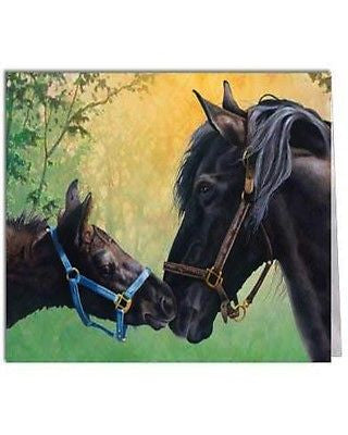 Western Art Greeting Card Set Blank Note Cards Black Horse Mare Foal Horse Art
