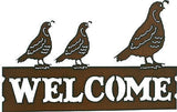 Southwestern Home Decor New Rustic Metal Welcome Sign 3 Quail Family