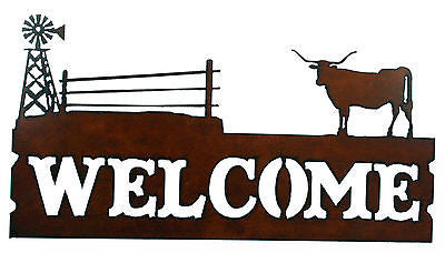 Western Home Decor Welcome Sign Cattle Ranch with Windmill