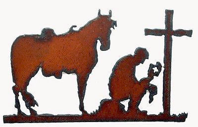 Western Kitchen Decor Fridge Magnet Cowboy At Cross Prayer Religious Cross
