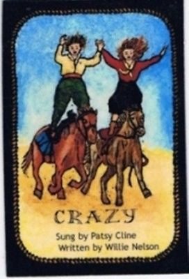 Western Art Funny Kitchen Magnets Cowgirls Country Western Music