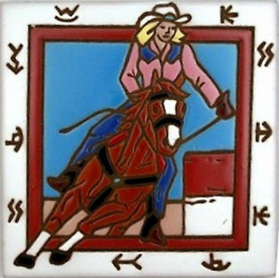 Western Decor Kitchen Trivet Ceramic Tile Cowgirl Barrel Racing Quarter Horse
