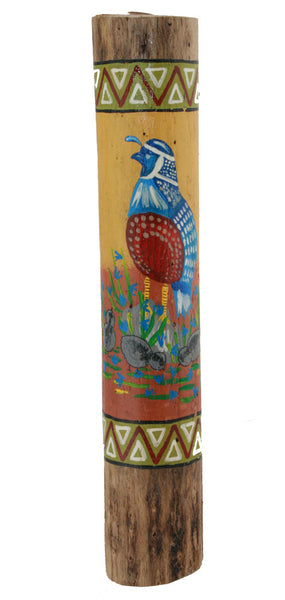Rain Stick Cactus Seed Rattle Dried Cactus Southwestern Art Quail painted