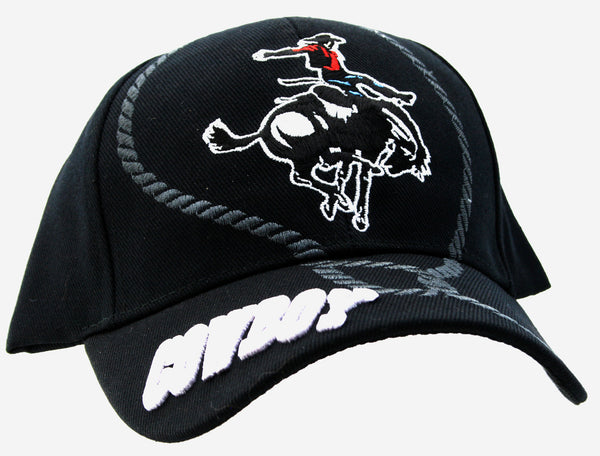 NWT! Black Baseball Cap Western Saddle Lasso Rodeo Cowboy Art