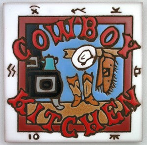Western Kitchen Decor Chuck Wagon Cowboy Kitchen Ceramic Tile Coaster Trivet