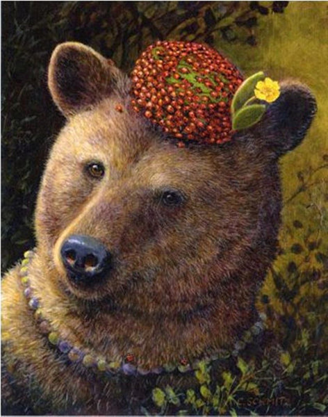 Brown Bear Art Mullein Leaves Ladybug Pillbox hat Blank Card White envelope