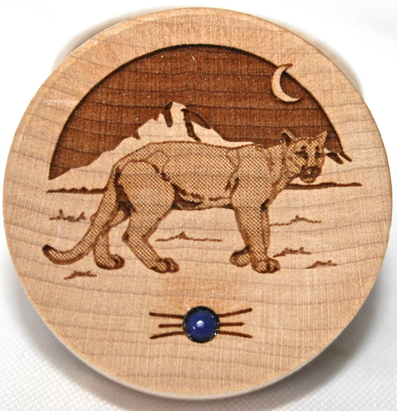 Cougar Wild Cat Wood Carved Box Lapis Lazuli gemstone Dream Box Trinket Box