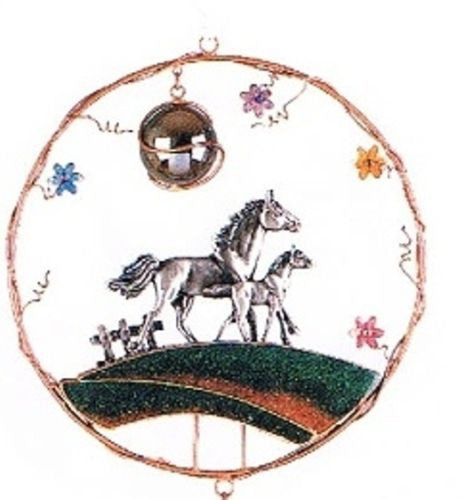Western Home Garden Decor Wind Chime Mare Horse Foal