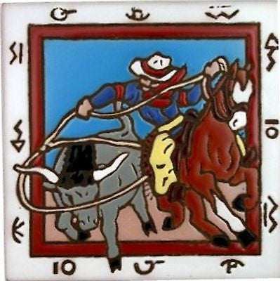 Western Kitchen Decor New Ceramic Tile Cowboy Rodeo Calf Roper trivet