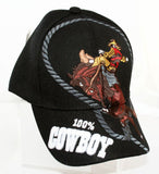 New! Black Cowboy Hat 100% Cowboy Baseball Cap OSFA Embroidered