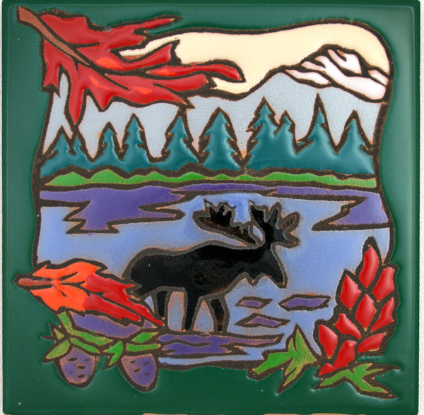 Moose Decor Ceramic Tile Cabin Kitchen Trivet Lodge Coaster