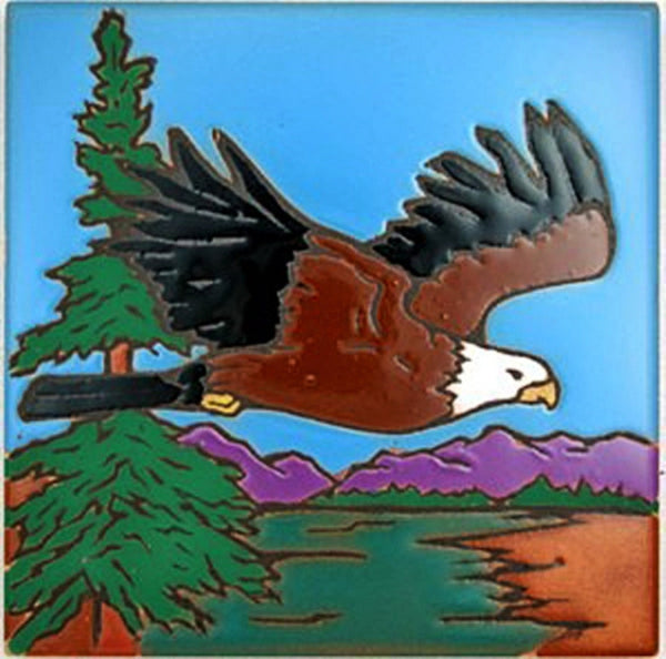 Eagle in Flight Ceramic Kitchen Trivet Decorated Tile Coaster