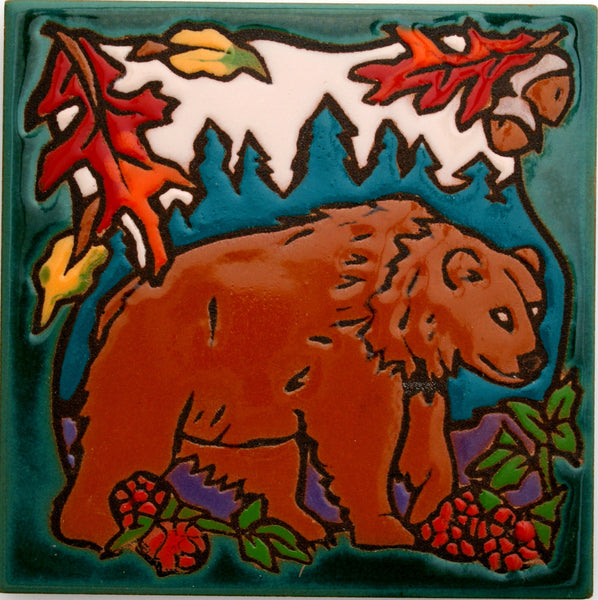Cabin Decor Ceramic Coaster Kitchen Trivet Bear Art