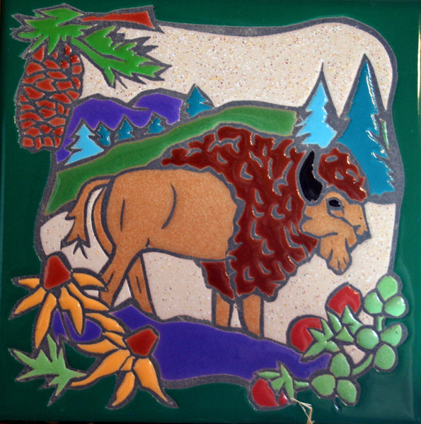 Western Home Decor Ceramic Tile Kitchen Trivet Coaster Wild Buffalo