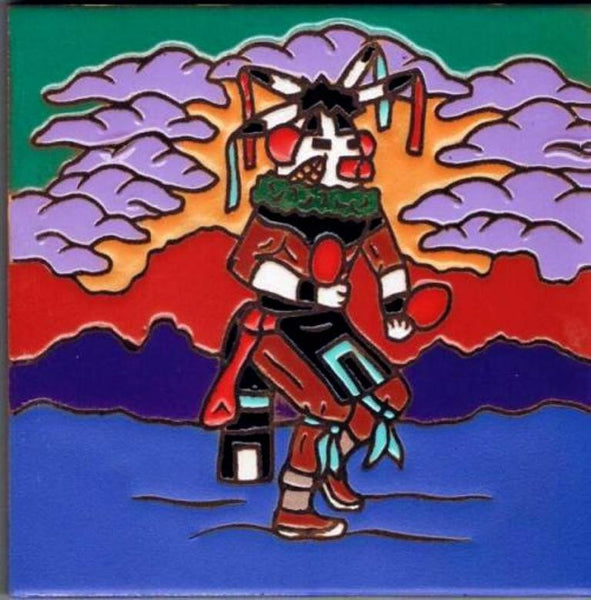 Kachina Corn Dancer Southwestern Art Ceramic Tile kitchen Trivet