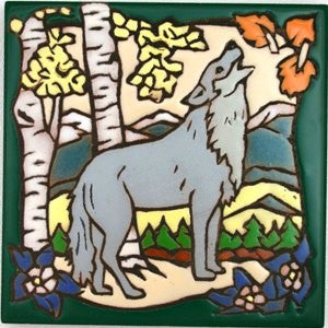 Wolf Art Lodge Decor Ceramic Tile Trivet Coaster Cabin Decor
