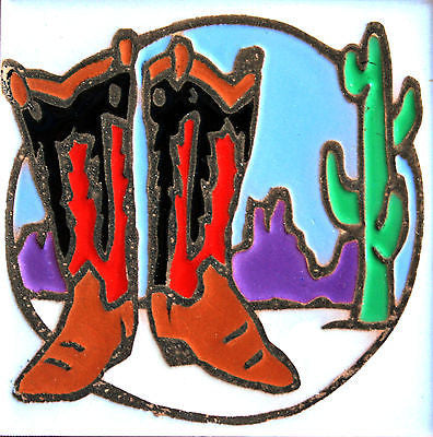 New Western Kitchen Decor Vintage Cowboy Boots New Ceramic Tile