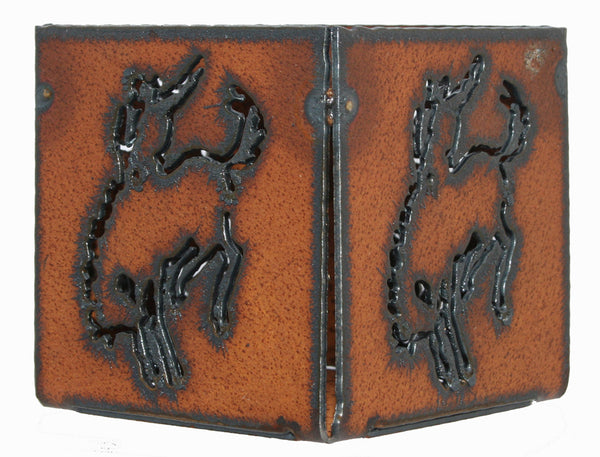 "Western Home Decor 3"" candle holder Rustic Metal Cowboy Rodeo Bronco Horse Candle"