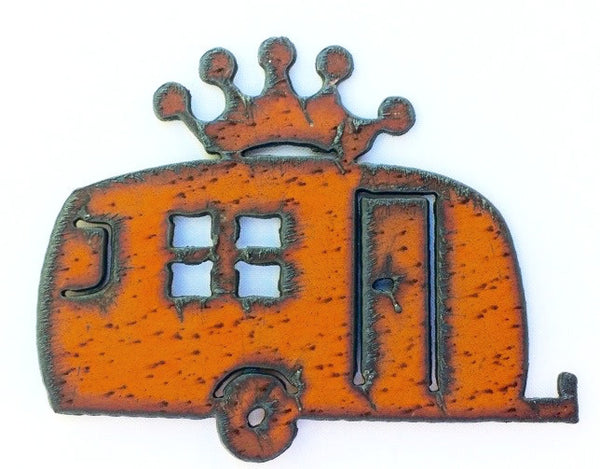Glamping Decor vintage Metal Travel Trailer Crown Rustic Magnet Kitchen Magnet