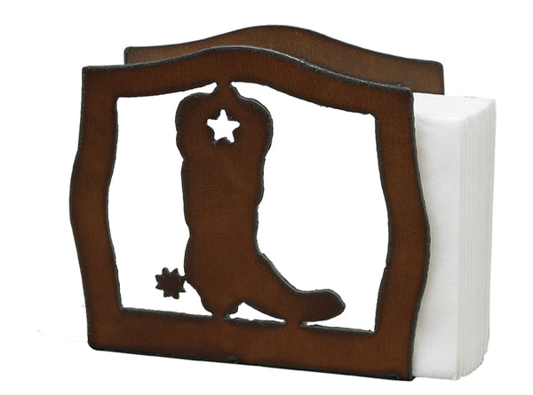 Western Home Decor Cowboy Boot Rustic Metal Napkin Holder