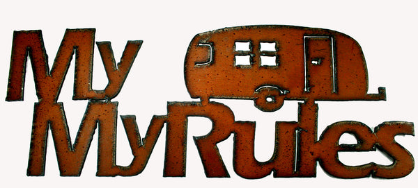 Glamping Camping Funny Sign RV Decor New! Rustic Metal Sign My RV My Rules