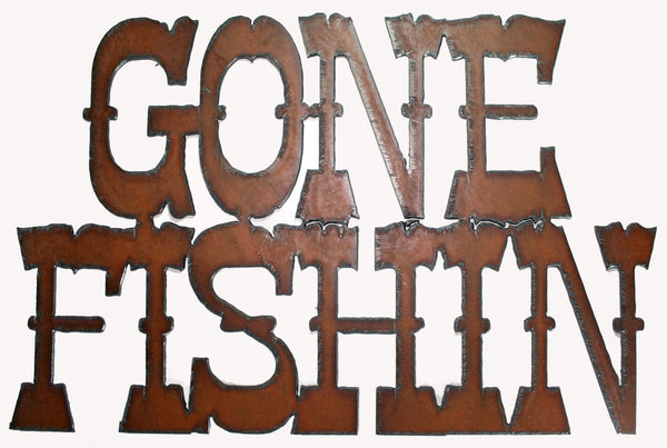 Rustic Metal Sign Gone Fishing Cabin Decor