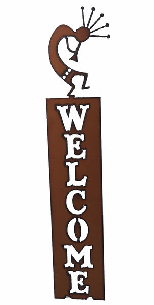 Rustic Metal Kokopelli Southwestern Home Decor Vertical Welcome Sign