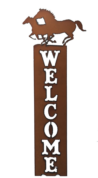 Western Home Decor Rustic Metal Horse Vertical Welcome Sign
