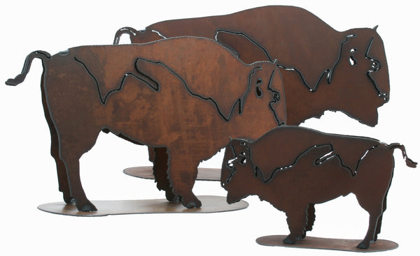 Rustic Home Decor Metal Buffalo Figurine Free Standing Buffalo