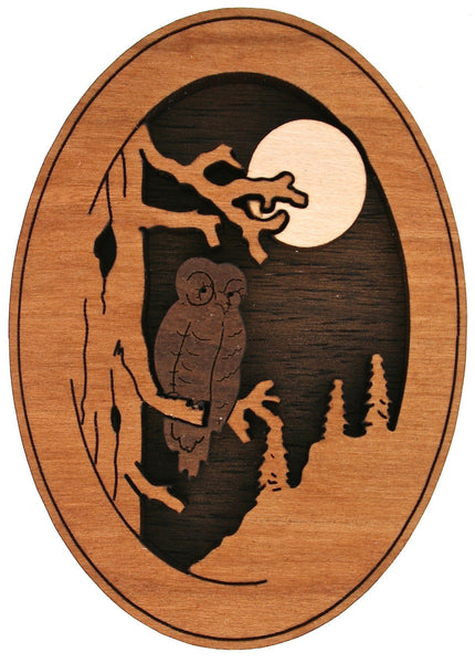 Owl Art Carved Wood Magnet Laser Cut Wood Design Kitchen Magnet