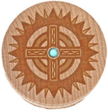 Southwestern Cross Carved Wood Trinket Box Religious Cross Turquoise
