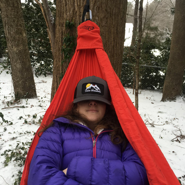 Sluice Hammocks in the Snow Awesome Trucker Hat Square