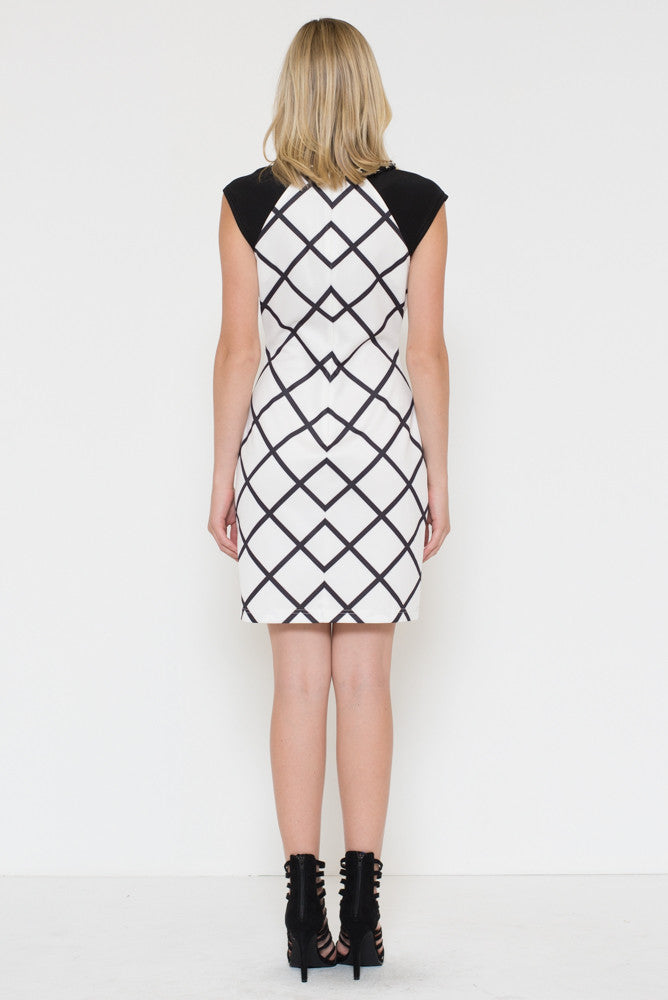 Window Pane Checker Sheath Dress