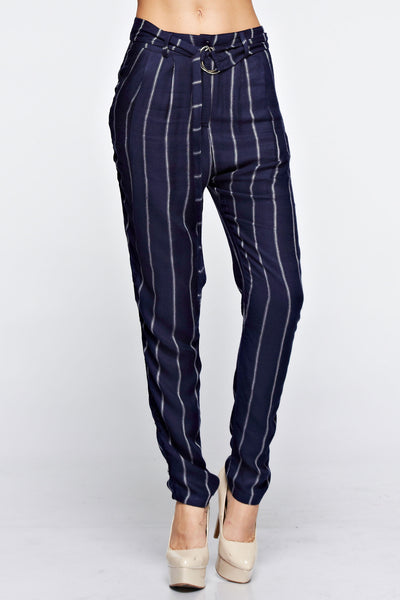 Striped Pants with Tie Belt